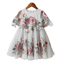 DFXD High Quality 2018 Summer Short Sleeve Toddler Dress Flower Embroidery Lace Princess Dress Korean Baby