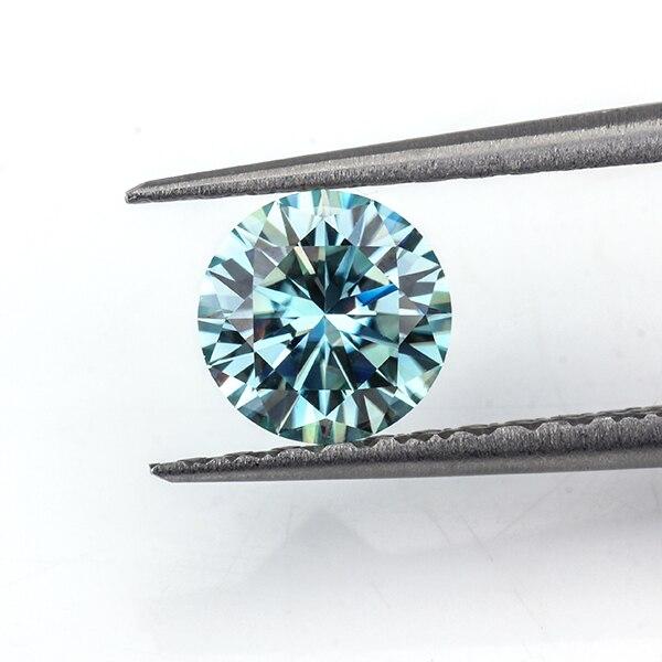 Moissanites en vrac pierre 6.5mm rond 8 coeurs et 8 flèches coupe 1ct Moissanites pierres précieuses diamants synthétiques pierre couleur bleue