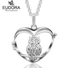 Эудора Полые Сердце Сова медальон плавающая клетка кулон ожерелье