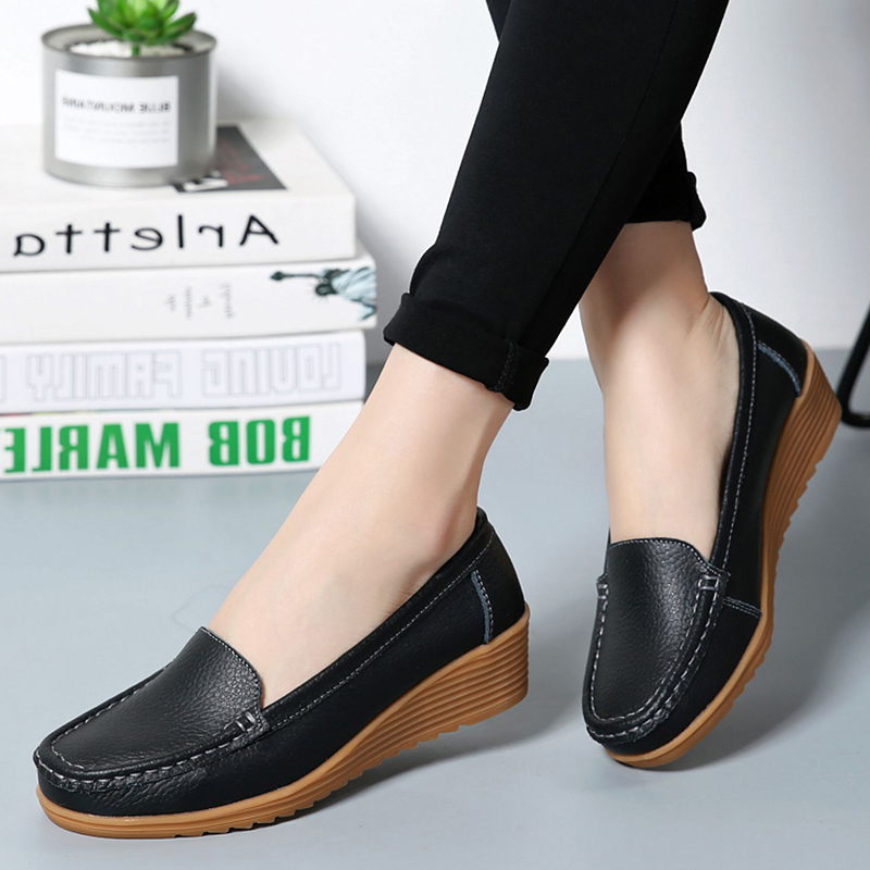 Women Flats 2019 Spring Summer Shoes Women Heels 4.3CM Genuine Leather Chaussures Femme Casual Women Loafers Ballet Flat Shoes