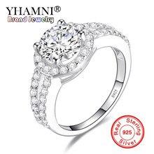 554f1ac89df0 YHAMNI superior de la joyería 100% Plata de Ley 925 anillos de plata de 2  quilates SONA Cubic Zirconia anillo de compromiso rega.