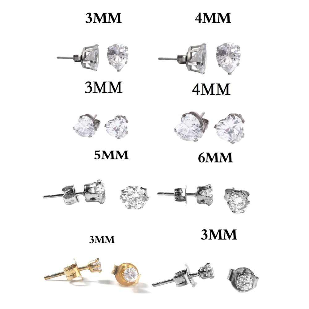 Stainless Steel Zircon Inlaid Round Heart Stud Earrings Classic Fashion Earring for Women Girl Gift 2018 New, 1 pair