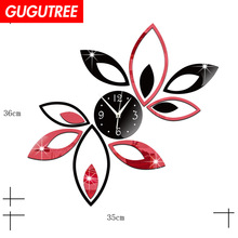 Decorate 3D flower clock art wall mirror sticker decoration Decals mural painting Removable Decor Wallpaper LF-1907