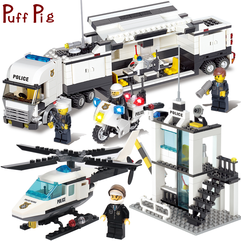 Polizei Station Lkw hubschrauber Bausteine Set Kompatibel Legoe Stadt Figuren DIY Bau Ziegel Spielzeug für kinder jungen
