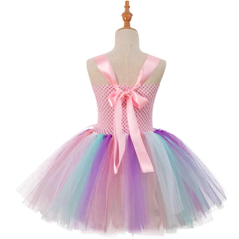 ... 2018 Children Girls Unicorn Tutu Dress Rainbow Princess Kids Birthday  Party Girl Dress Christmas Halloween Pony ... ff4bb66707dc