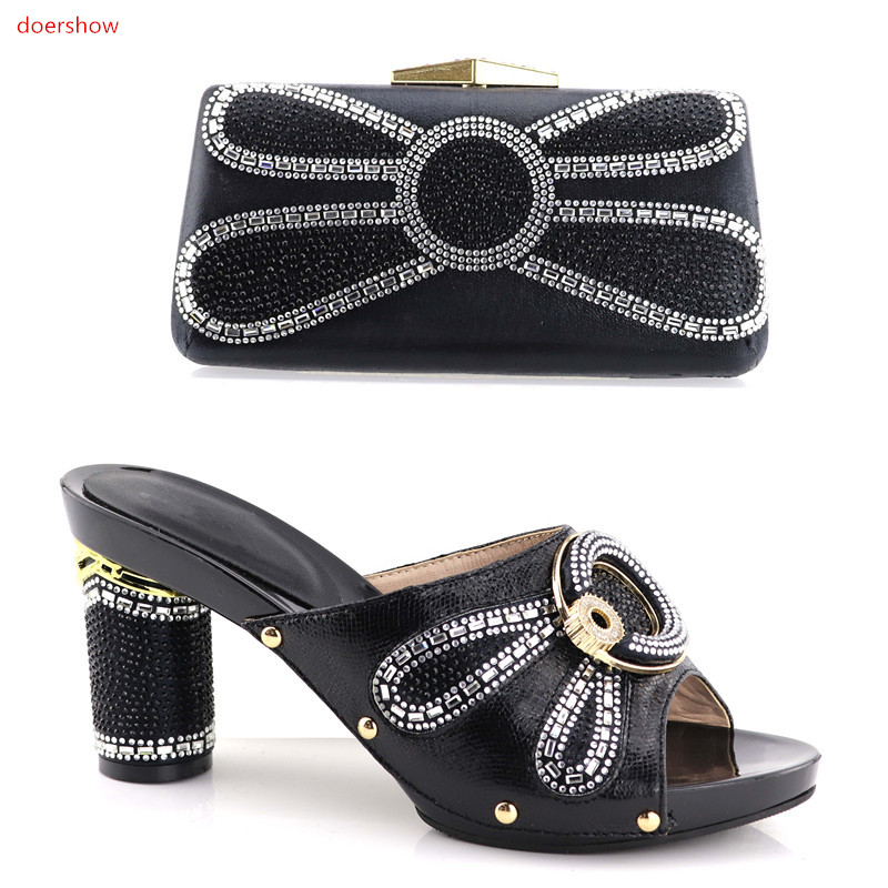 doershow BLACK Italian Shoes with Matching Bag Set Decorated with Rhinestone African Shoe and Bag Set Italy Shoe and Bag!HV1-10 doershow african women matching italian shoe and bag set for wedding italian shoes with matching bags italy shoeshsk1 38