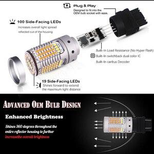 Image 2 - Ijdmなしハイパーフラッシュ 21 ワット 3157 led canbus P27/5 ワットP27/7 ワットledスイッチバック白/アンバーled電球昼間ランニング/ターンシグナルライト