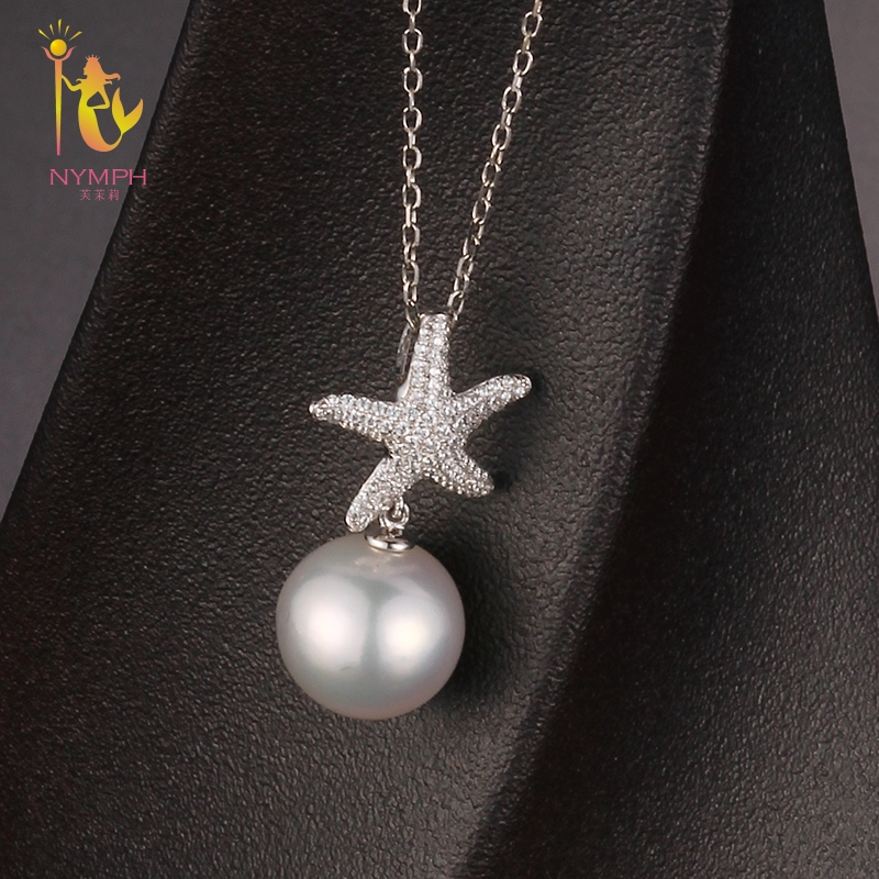 [NYMPH] Freshwater Pearl Necklace Pendant 9-10 mm Near Round Natural Stone Pendant Big Trendy Party Gift For Women Starfish D304 retro key shape conch and starfish pendant necklace for women