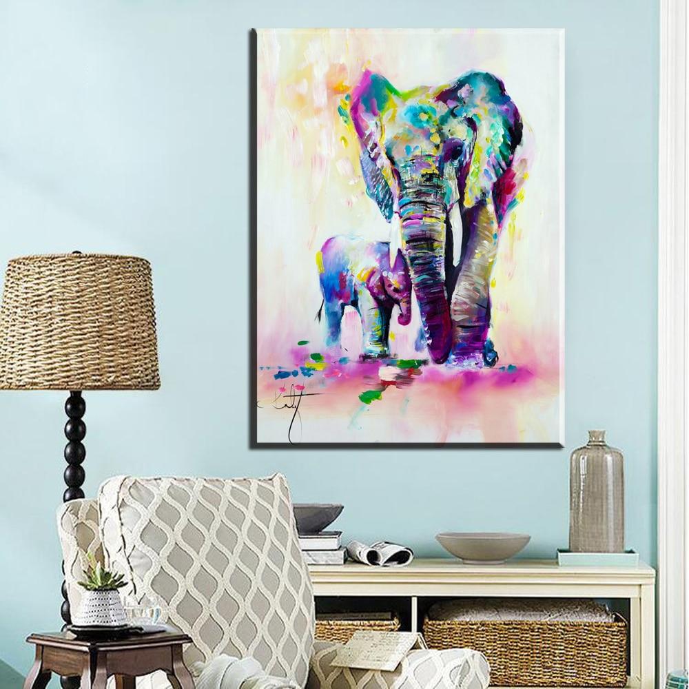 ZZ561watercolor de carteles y arte colorido elefante de madre hijo animal de la lona de pintura arte de la pared de casa