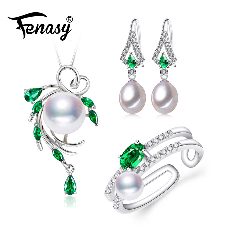 FENASY Pearl Jewelry wedding engagement jewelry sets Natural Pearl pendant Necklace women big earrings party earrings femaleFENASY Pearl Jewelry wedding engagement jewelry sets Natural Pearl pendant Necklace women big earrings party earrings female