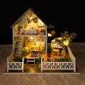 A030 Северной Европы отдыха БОЛЬШОЙ размер DIY Деревянные Миниатюре Кукольный Дом Мебель Ручной Работы 3D Миниатюрный Кукольный Домик Игрушки Подарки