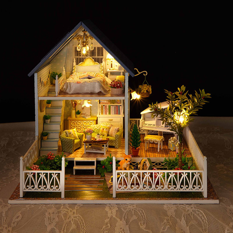 A030 North Europe holiday BIG size DIY Wooden Miniatura Doll House Furniture Handmade 3D Miniature Dollhouse Toys Gifts