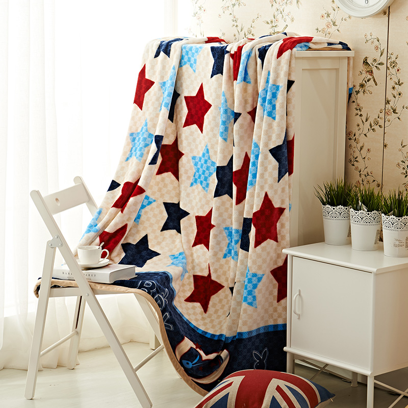Star Pattern Color Bedspread Blanket Soft Flannel Blanket To On For The Sofa/Bed/Car Portable Plaids Bedding 150x200cm Size