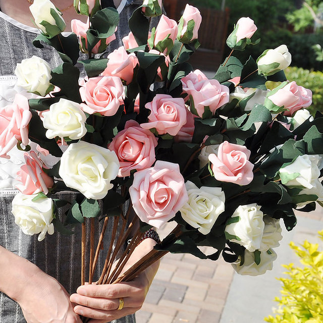 5 Heads Rose Bouquets Artificial Flowers valentine\'s day flowers ...
