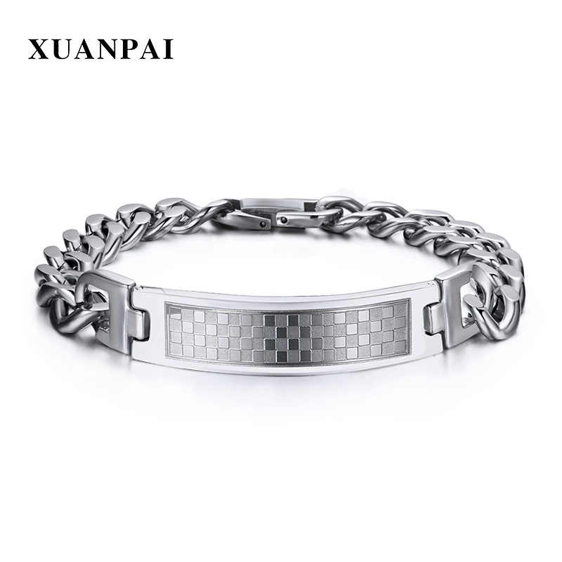 XUANPAI 12mm Lattice Grid Stainless Steel Bracelet for Men Bangle Curb Link Chain Casual Daily Male Jewely