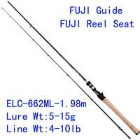 Tsurinoya Elite ELC 662ML 1.98m ML Power Carbon Bait Casting Fishing Rod Fuji Accessories Match Fishing Rod Micro Guide Bass Rod