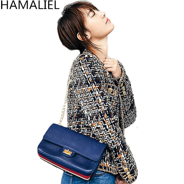 HAMALIEL Autumn Winter Women Tweed Jacket Coat 2018 Runway Single Breasted O Neck Ladies Long Sleeve Outerwear Vestidos