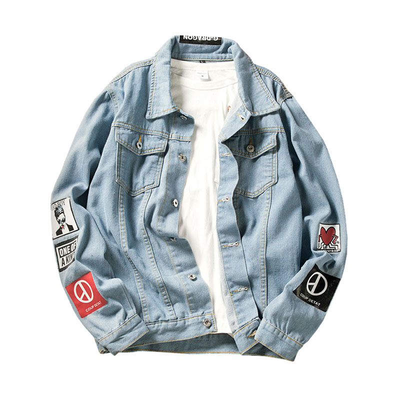 Korean Harajuku Style Graffiti Unisex Denim   Jacket   Printing Loose   Basic   Women Coats Casual Plus Size Oversize Bomber   Jacket