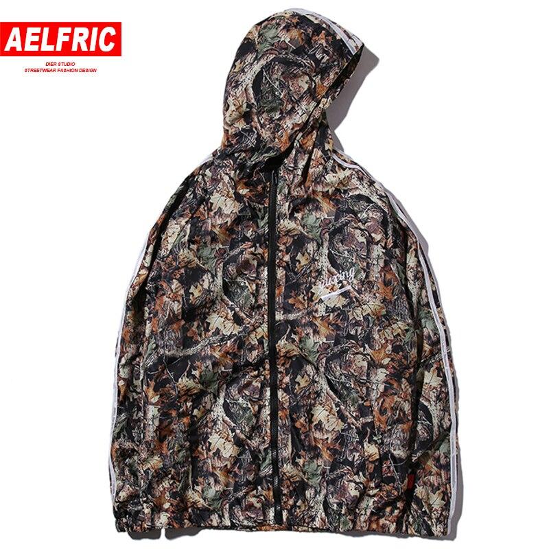 AELFRIC Maple Leaf Tree Printed Jacket Hip Hop Streetwear Jackets Camouflage Men Windbreaker Jackets Zipper Casual Outwear YE17