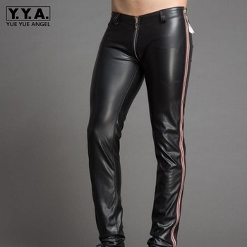Design Skinny Zipper Low Waist Men Pu Leather Pants Clubwear High Quality Punk Style Stripe Dance Party Trousers Stage Show Pant