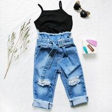 Chifuna/Эксклюзивные джинсы для девочек; рваные потертые джинсовые штаны; летние модные брюки для девочек; одежда для малышей