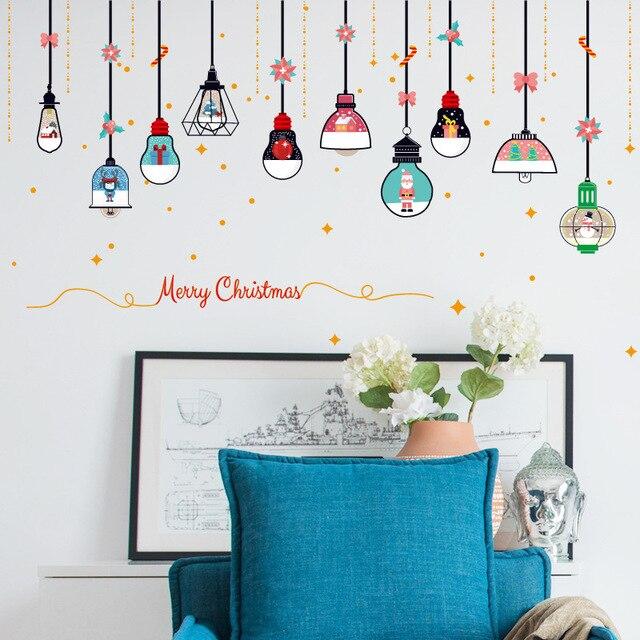 Рождественские люстры настенные наклейки магазин дверь из оконного стекла стены DIY домашний декор новый год Рождественские украшения наклейки