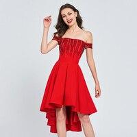 Tanpell с открытыми плечами коктейльное платье Красный Бисероплетение асимметрия line платье Женщины homecoming Вечерние Формальные Пользовательск