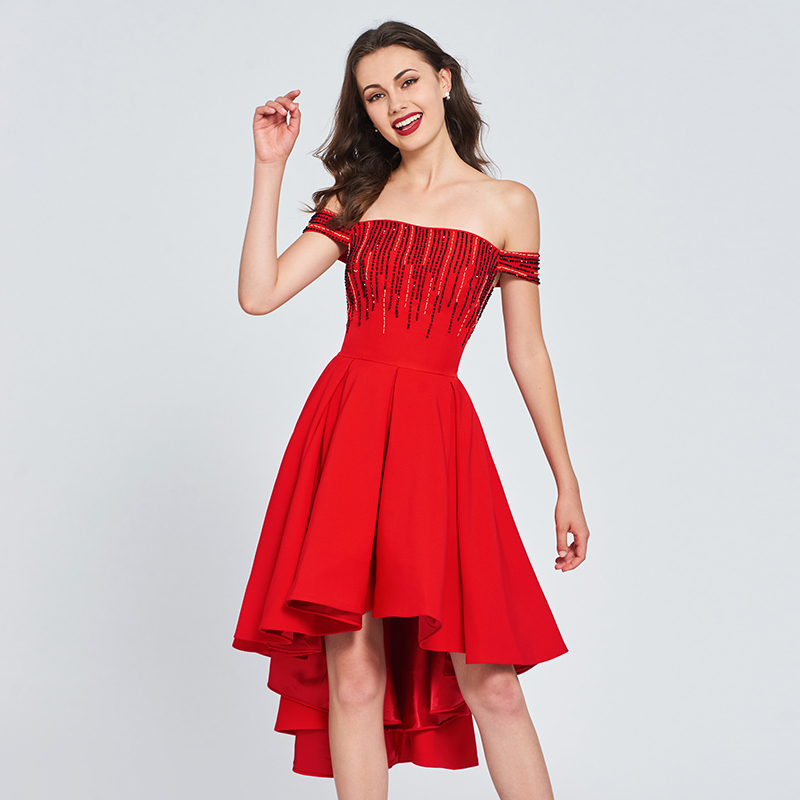 Tanpell off the shoulder   cocktail     dress   red beading asymmetry a line gown women homecoming party formal custom   cocktail     dresses