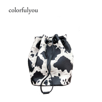 2019 Milk Cow Print Women Bucket bag PU leather Sling Shoulder Bags Cute Mini String Crossbody bag for ladies Mobile Phone Bags