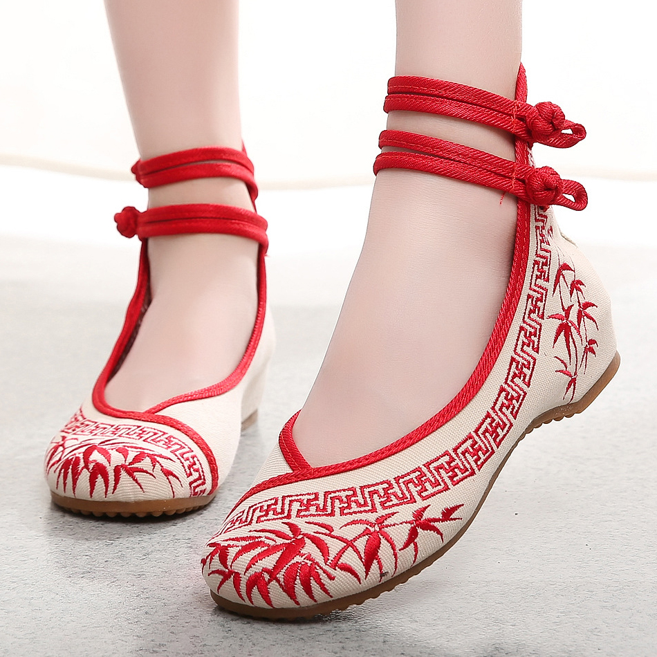 Womens sandals reviews - Bamboo Print Canvas Women Sandals Embroidery Cloth Shoes Comfortable Soft Cloth 3 Colors Ankle Strap Women Flats