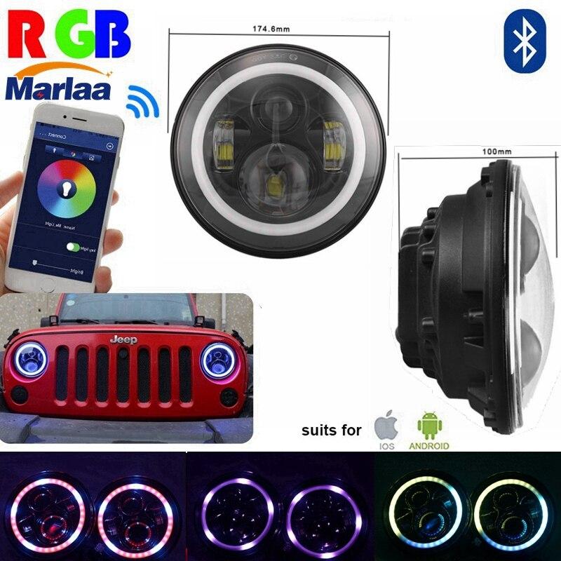 7 LED Headlights Bulb RGB Halo Angel Eye with Bluetooth Remote for 1997~2016 Jeep Wrangler JK LJ CJ Hummer H1 H2 Headlamp hot sale 7 inch led headlights kit rgb with bluetooth remote halo ring angel eyes for jeep wrangler 1997 2017 jk tj cj