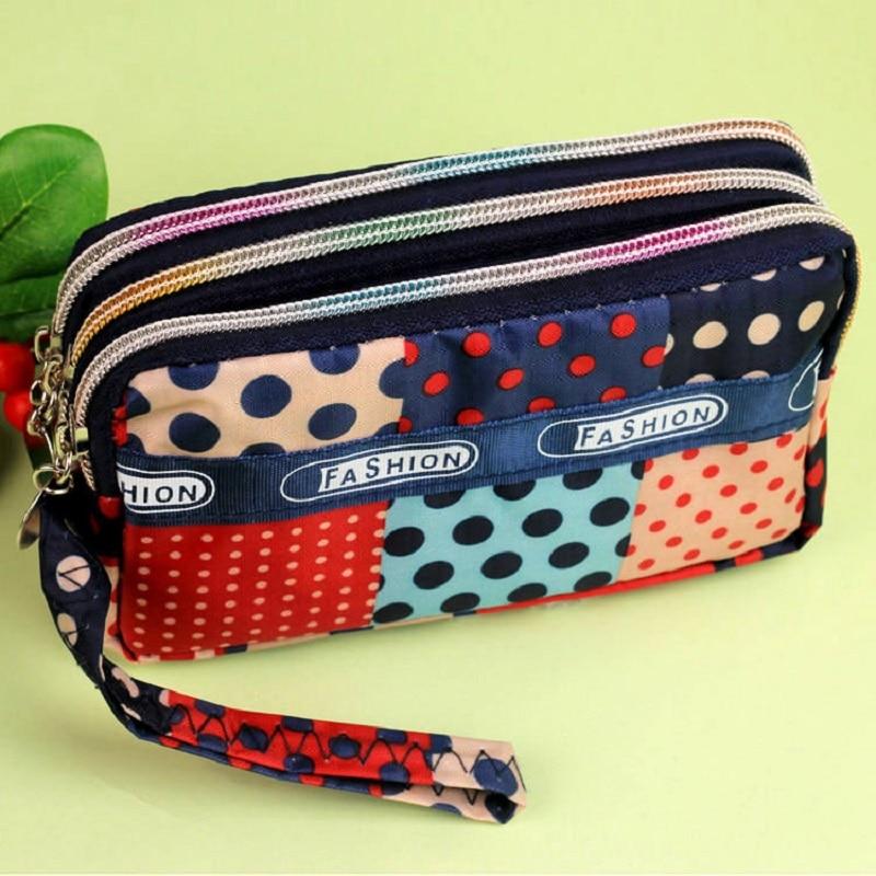 Nylon polka dot print womens small coin purse organizer wallet female phone money pouch carteira bolso bolsa feminina for girls