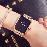 Women Watches 2017 Fashion Luxury Gold Stainless Steel Bracelet Dress Wristwatch Unique Rectangular Simple Dial Gift