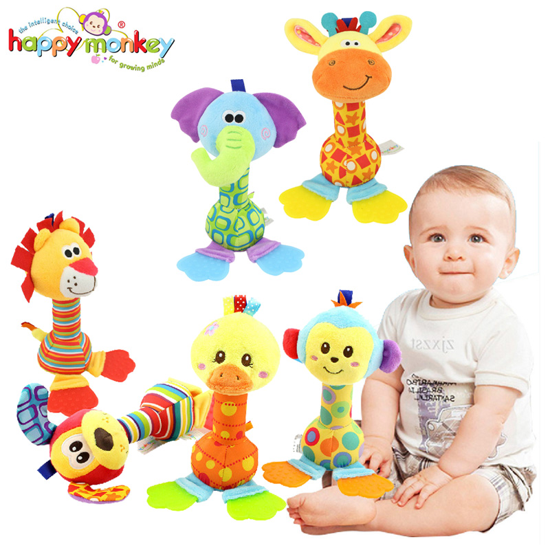 Happy Monkey Lovely Animal Baby Rattle Stick Teether BB Sound Bed Crib Hanging Toys Bell Ring Infant Puppet Plush Doll