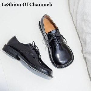 Новая Брендовая обувь на низком каблуке из коровьей кожи, женские весенние туфли-оксфорды на плоской подошве, с закругленным носком, на шнур...