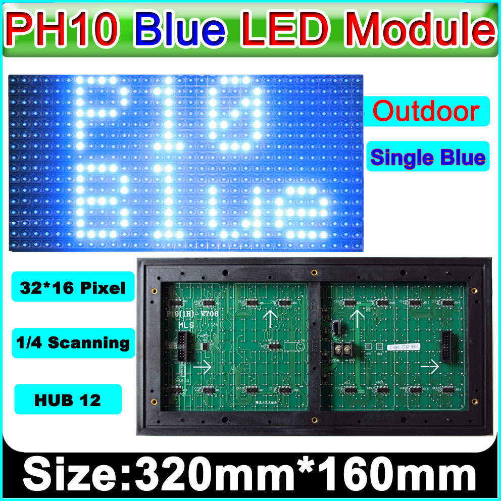 P10 Blue Color Outdoor LED Display Module, P10 Led Signs Green Panel, Electronic Moving Text