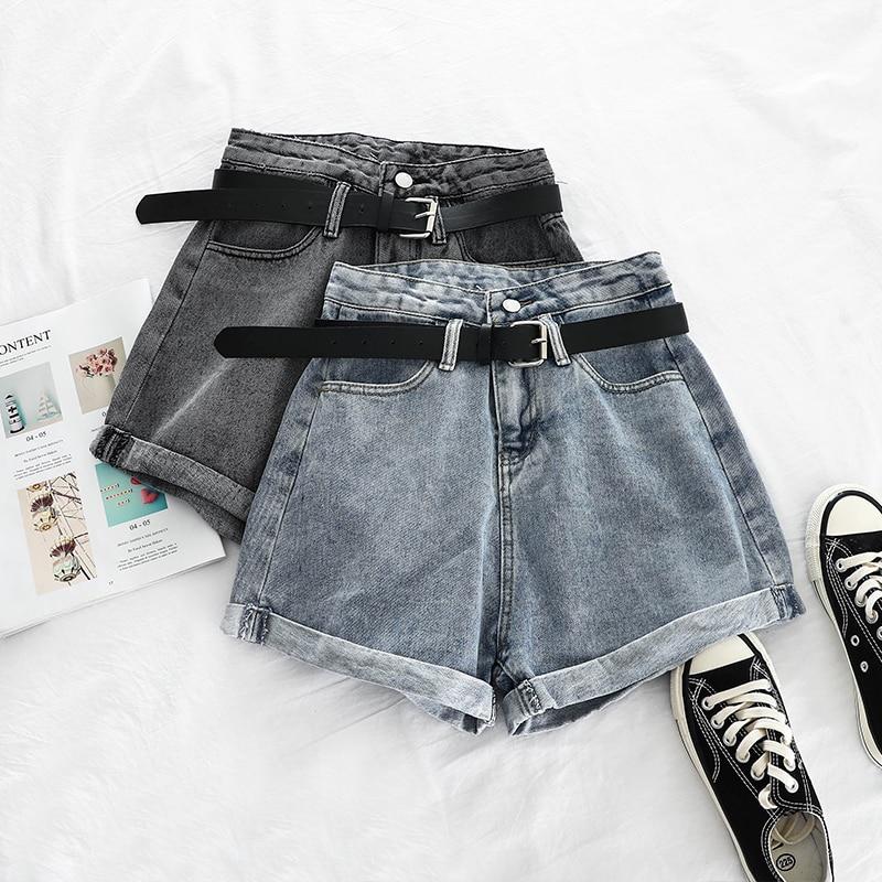 Summer 2019 High Waist Denim Shorts For Women Sexy Loose Leg Casual Female Denim Shorts With Pocket Elegant Blue Gray Shorts