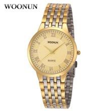 2017 de lujo de oro relojes de los hombres relojes ultra-delgadas para hombre woonun top marca de lujo a prueba de choques impermeable de cuarzo reloj reloj de hombre
