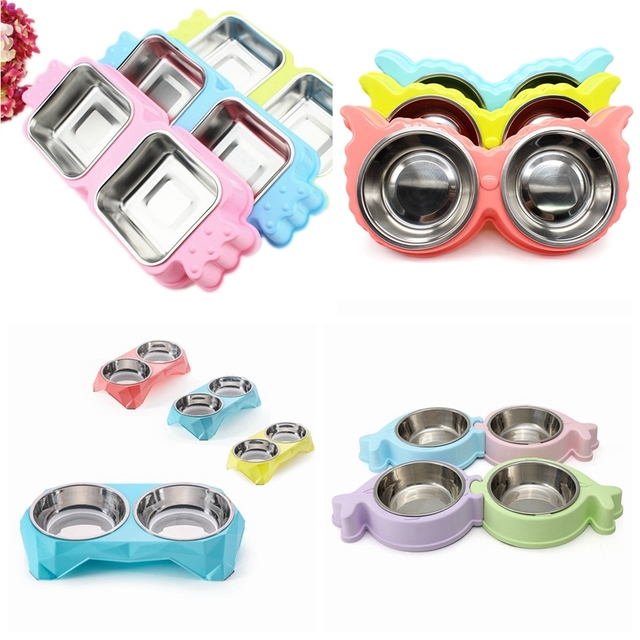 Dog Double Bowls Stainless Steel Pet Bowl Plastic Puppy Food Container Cat Water Dish Feeder, 4 Shapes for Choice