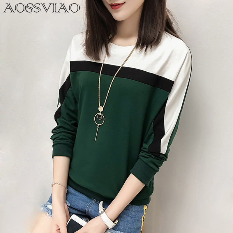 AOSSVIAO 2018 Autumn Winter Long Sleeve T shirt Women Tops Tshirt Women T-shirt O-neck Loose Cotton Tee Shirt Femme Plus Size