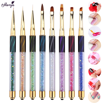 Monja Nail Art Stripe Lines Liner Painting Cat Eye Brush Acrylic UV GEL Extension Builder Drawing Rhinestone Handle Pen