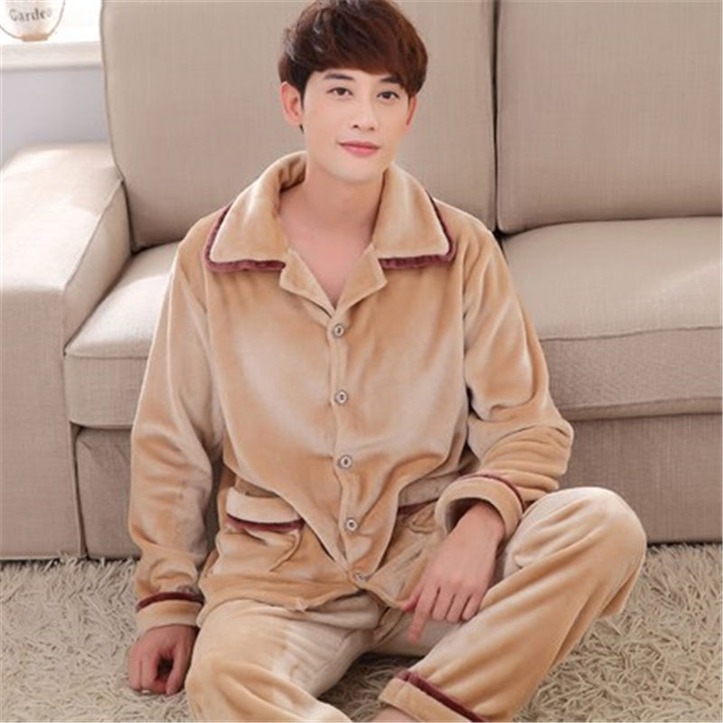 100% Coral Fleece Couples pajamas thick flannel pajamas winter autumn  thickening terry women cotton pajama men chinese kimono-in Pajama Sets from  Underwear ... 41ca0abe2