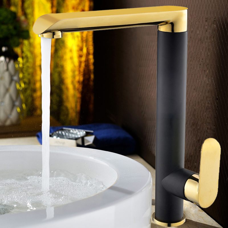 3 Colors Basin Faucets Brass Faucets Black Golden Finished Bathroom Faucet Mixer Tap Single Handle Hot and Cold Taps With Pipes micoe hot and cold water basin faucet mixer single handle single hole modern style chrome tap square multi function m hc203