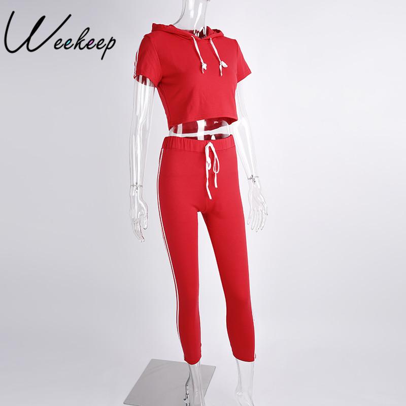 HTB17PdJRpXXXXXMXVXXq6xXFXXXM - Women Brand Two Piece Set Side Striped Crop Top And Leggings Red Fitness Set JKP041
