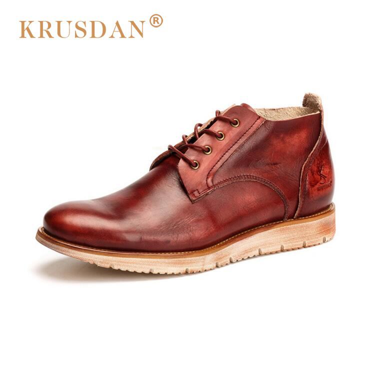 [krusdan]british Style Men Autumn Winter Boots,solid Casual Genuine Leather Retro Boots Falts,brand Red Wine Male Ankle Boot serene handmade winter warm socks boots fashion british style leather retro tooling ankle men shoes size38 44 snow male footwear