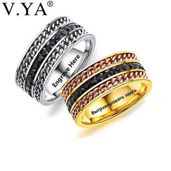 a94cdba5ae1b V. YA anillo de moda para hombre el Punk Rock accesorios acero inoxidable  negro cadena Spinner anillos para hombres plata y oro Color hombre regalo