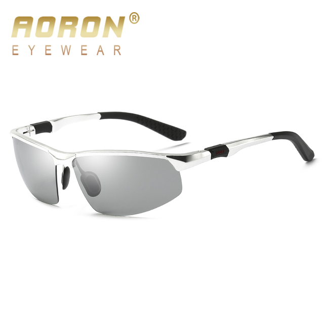 4caeab1b5f 2018 AORON Aluminium Alloy Photochromic Polarized Sunglasses Women Men s  Discoloration Goggles Male Eyewear Anti Glare Glasses