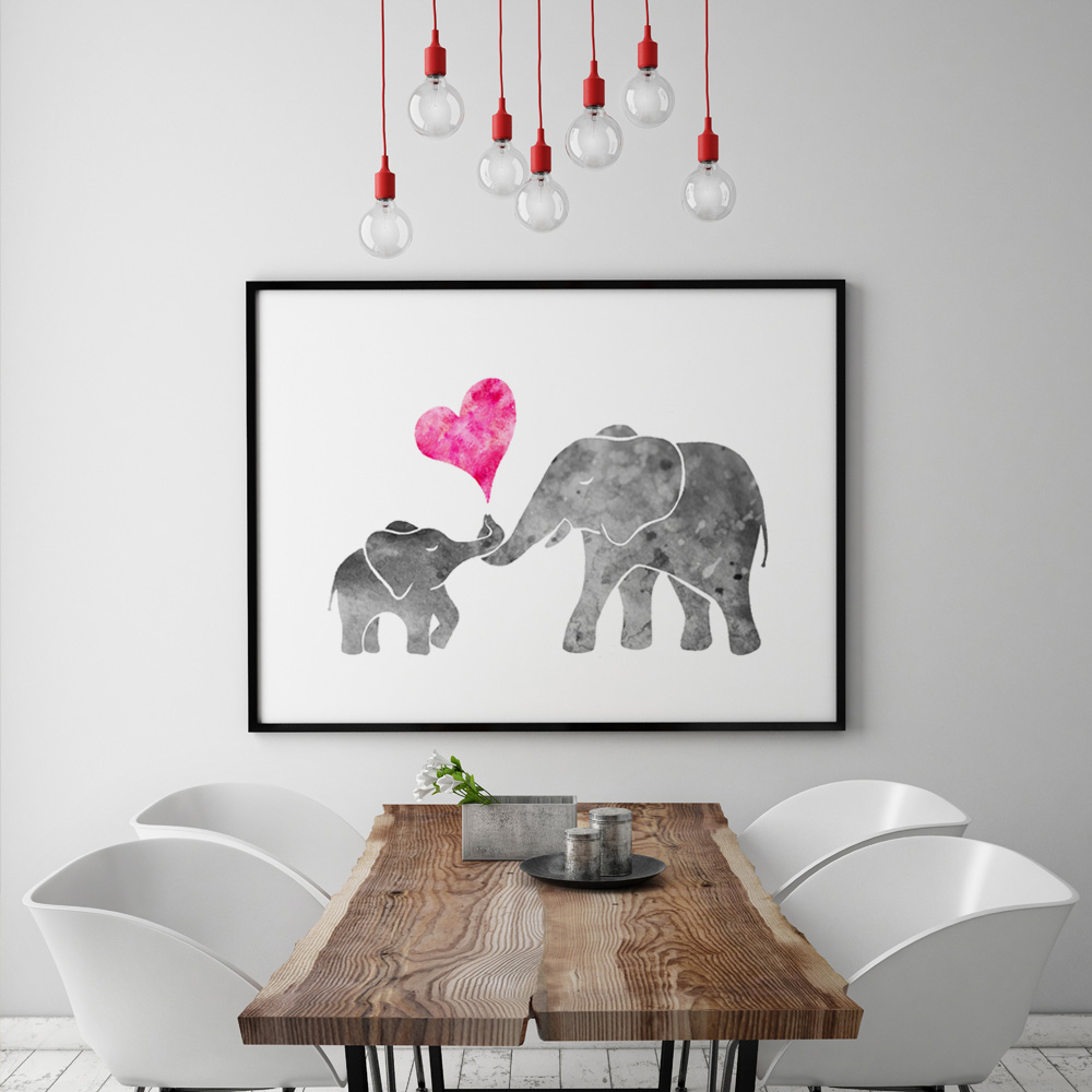 Watercolor Grey Baby Elephant With Mom Art Print Painting
