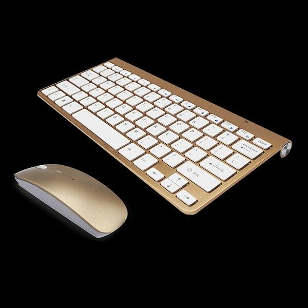 Abundante Teclado Inalámbrico Ultradelgado De 2,4 Ghz Y Combo De Ratón Con Teclado De Ratón Receptor Usb Para Apple Pc Windowsxp /7/8/10 (oro)