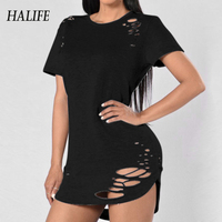 HALIFE Womens Summer Clothing Punk Rock Tshirt Tops Short Sleeve Ripped Fashion Holes Harajuku Army T